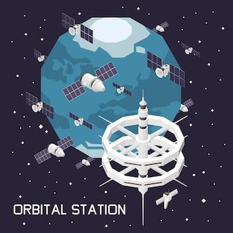 Ilustração isométrica com estação espacial orbital e satélites