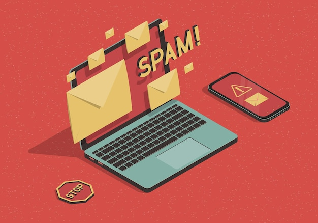 Ilustração isométrica com laptop e ataque de spam por e-mail