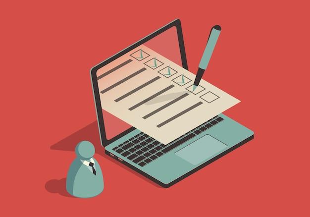 Ilustração isométrica com laptop e lista de verificação