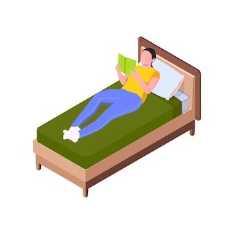Ilustração isométrica com mulher deitada na cama lendo livro