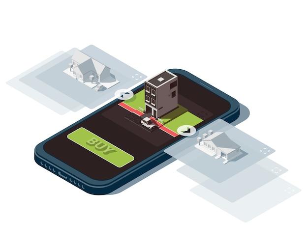 Ilustração isométrica com smartphone sobre o tema da pesquisa on-line de imóveis.