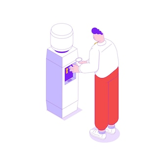 Ilustração isométrica com trabalhador de escritório bebendo água do refrigerador 3d