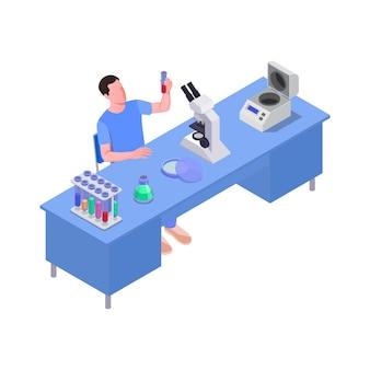 Ilustração isométrica com trabalhador de laboratório de ciências na mesa 3d