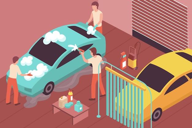 Ilustração isométrica com três pessoas lavando carro 3d