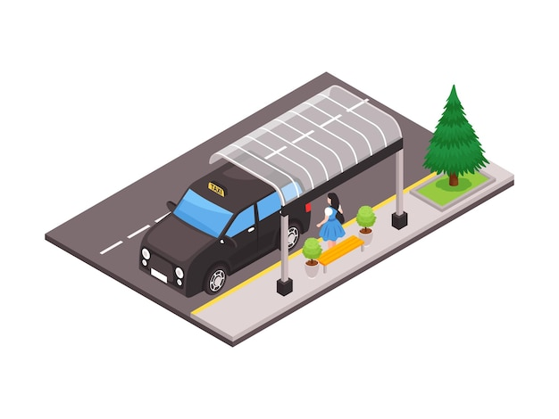 Ilustração isométrica com vista traseira de uma mulher em um abrigo de ônibus e um carro táxi preto