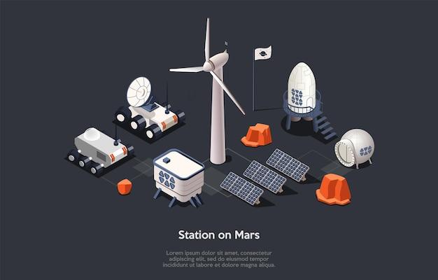 Ilustração isométrica. composição do estilo dos desenhos animados do vetor, design 3d. personagens, escrita e elementos no fundo escuro. instalação da estação cósmica em marte, conjunto de equipamentos de expedição para explorar o espaço.