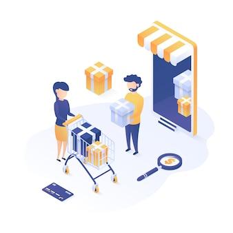 Ilustração isométrica conceito de compras on-line.