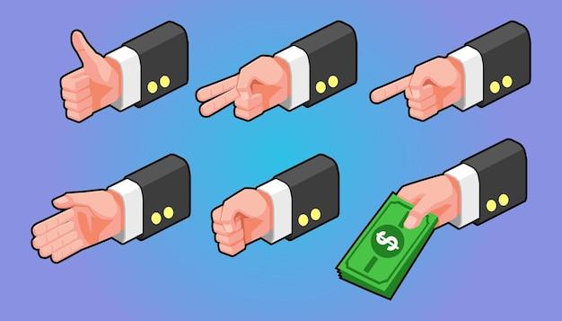 Ilustração isométrica, conjunto de gestos, mãos de empresário
