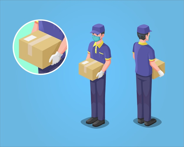 Ilustração isométrica, courier delivery service man, durante a pandemia