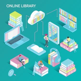Ilustração isométrica da biblioteca on-line