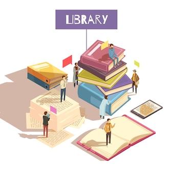 Ilustração isométrica da biblioteca