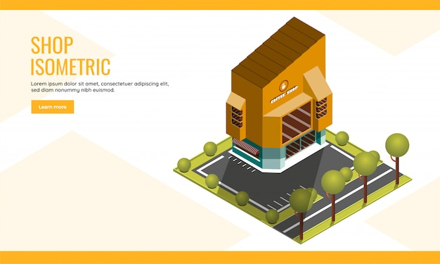 Ilustração isométrica da cafeteria, construindo no fundo do quintal do jardim para a página de aterrissagem da loja ou design de cartaz da web. Vetor Premium
