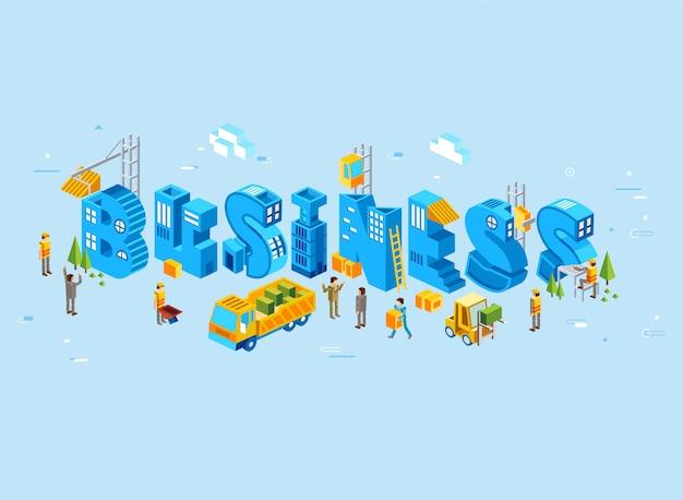 Ilustração isométrica da carta comercial, crescimento dos negócios é ilustrada com a construção de edifícios por pessoas - vector