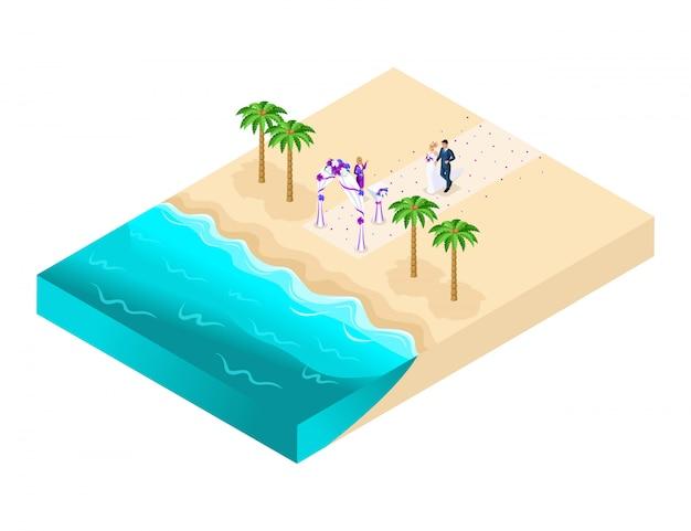 Ilustração isométrica da cerimônia de casamento na praia, registro do noivo e noiva na praia