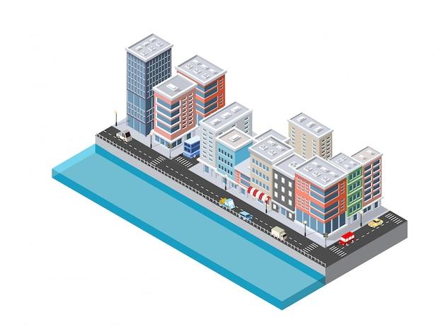 Ilustração isométrica da cidade moderna