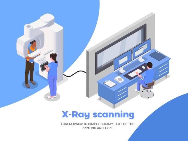 Ilustração isométrica da clínica de estomatologia com varredura de raio-x