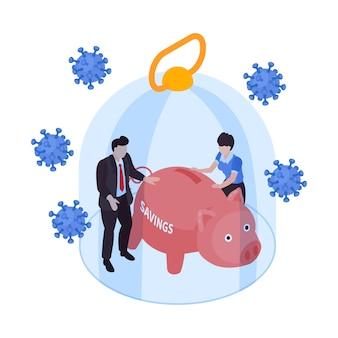 Ilustração isométrica da crise financeira global com pessoas da bactéria coronavírus e suas economias sob uma cúpula de vidro