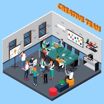 Ilustração isométrica da equipe criativa