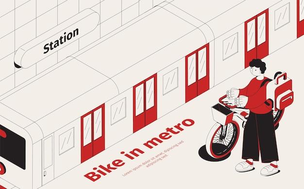 Ilustração isométrica da estação de metrô com jovem passageiro com sua bicicleta esperando o trem