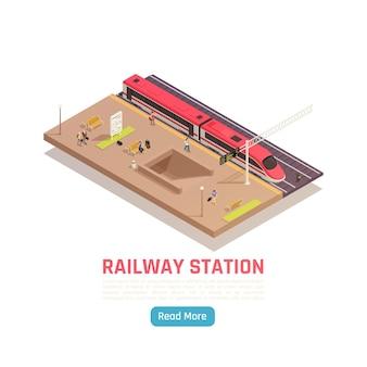 Ilustração isométrica da estação ferroviária de trem com plataforma de trem de alta velocidade com texto e botão leia mais