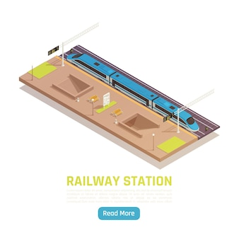 Ilustração isométrica da estação ferroviária de trem com texto e botão leia mais com plataforma e expresso regional