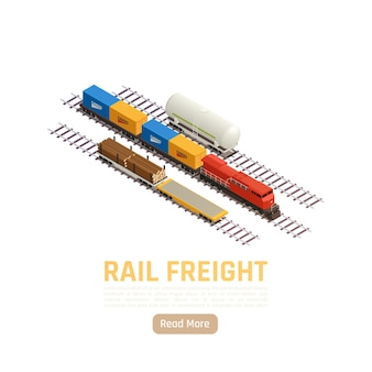 Ilustração isométrica da estação ferroviária de trem com texto editável leia mais botão e vagão de trem de mercadorias