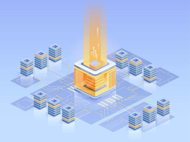 Ilustração isométrica da fazenda de mineração bitcoin. eletrônica de computadores, arquitetura de servidores, e business. tecnologia blockchain, negócio digital. dinheiro virtual, conceito azul brilhante de moeda eletrônica
