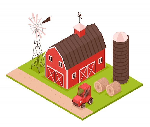 Ilustração isométrica da fazenda