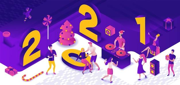 Ilustração isométrica da festa de ano novo de 2021, dj tocando discoteca no evento noturno