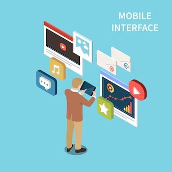 Ilustração isométrica da interface móvel