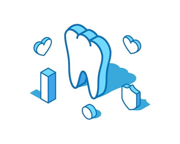 Ilustração isométrica da linha azul do dente. modelo de banner 3d para órgão interno saudável