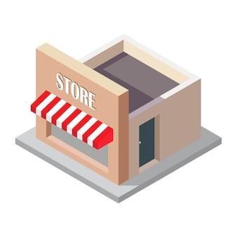 Ilustração isométrica da loja isolada no branco