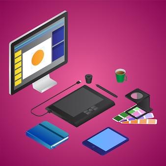 Ilustração isométrica da mesa de design