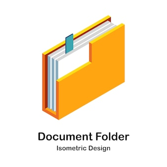 Ilustração isométrica da pasta de documentos