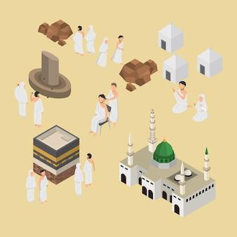 Ilustração isométrica da peregrinação muçulmana hajj no vetor 3d infográfico