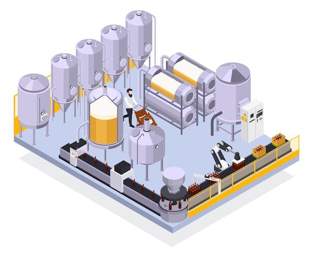 Ilustração isométrica da produção de cerveja da cervejaria com vista da linha automatizada das instalações industriais com garrafas e ilustração do trabalhador