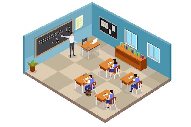 Ilustração isométrica da sala de aula com alunos e professor