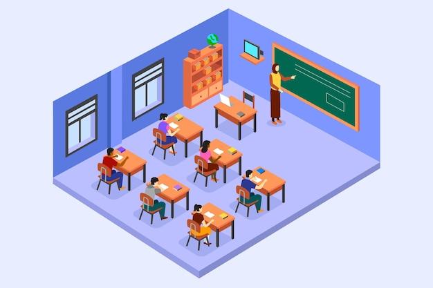 Ilustração isométrica da sala de aula com professor e alunos