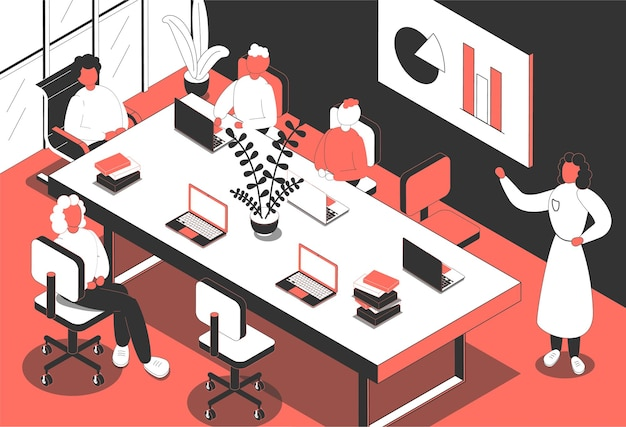 Ilustração isométrica da sala de conferências