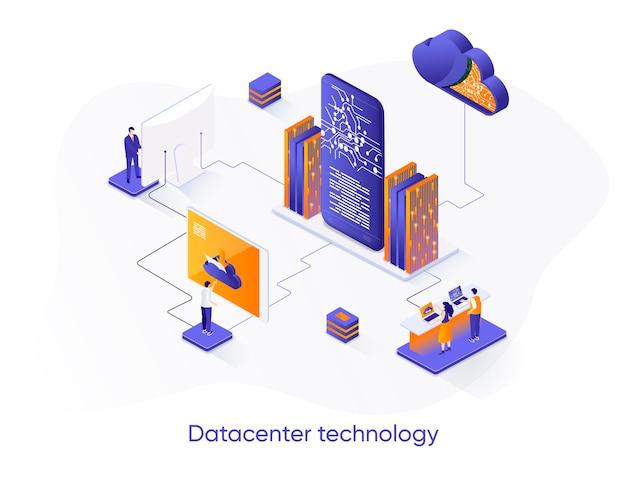 Ilustração isométrica da tecnologia datacenter com personagens de pessoas