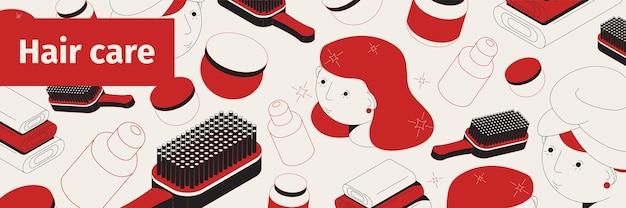 Ilustração isométrica da web de cuidados com os cabelos