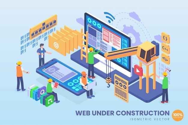 Ilustração isométrica da web em construção