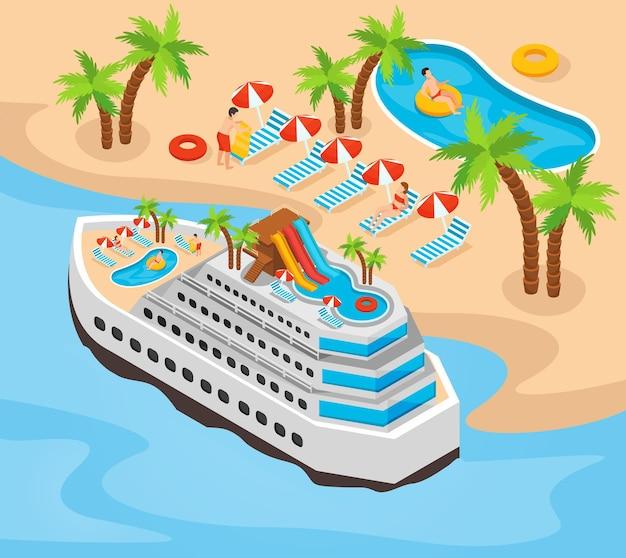 Ilustração isométrica das férias de verão com cruzeiro perto da praia arenosa