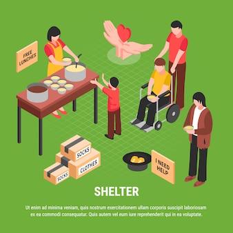 Ilustração isométrica de abrigo com implorando caixas de homem sem-teto com roupas e pessoas cuidando de pessoa com deficiência