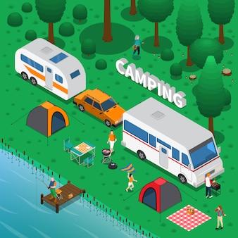 Ilustração isométrica de acampamento