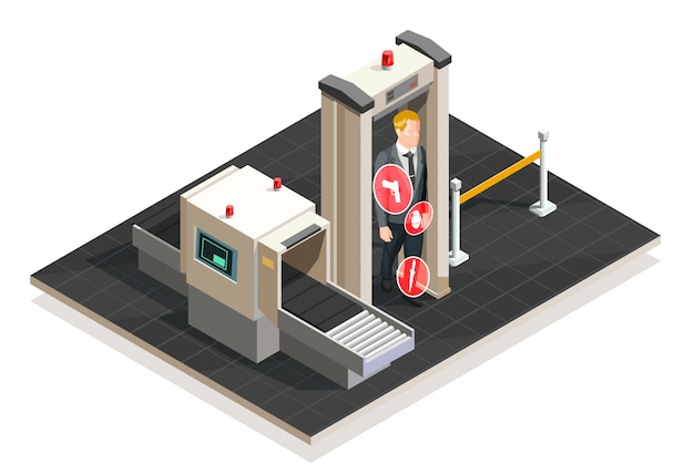 Ilustração isométrica de aeroporto