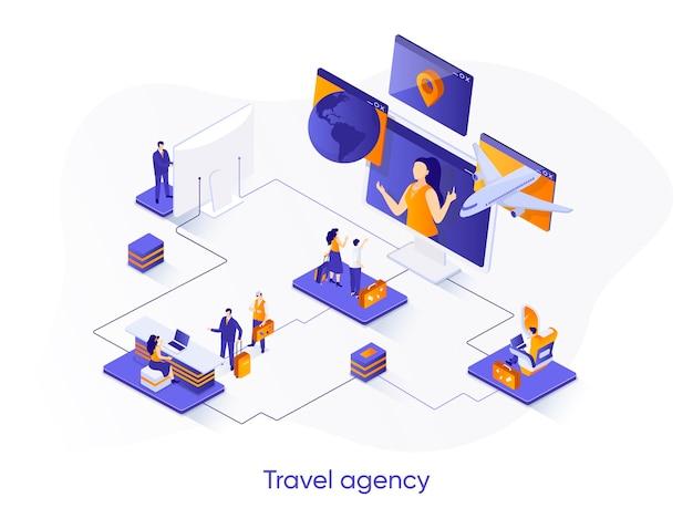 Ilustração isométrica de agência de viagens com personagens de pessoas