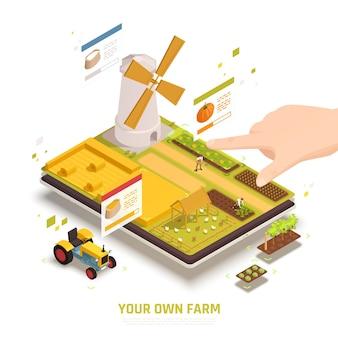 Ilustração isométrica de agricultura em tablet