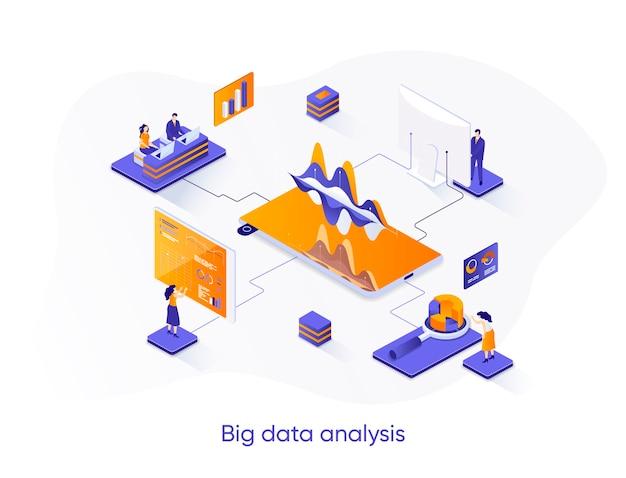 Ilustração isométrica de análise de big data com personagens de pessoas