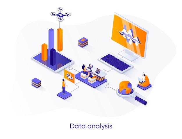 Ilustração isométrica de análise de dados com personagens de pessoas